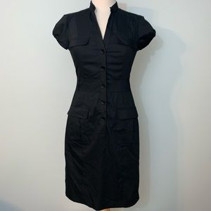 Fitted black button up dress